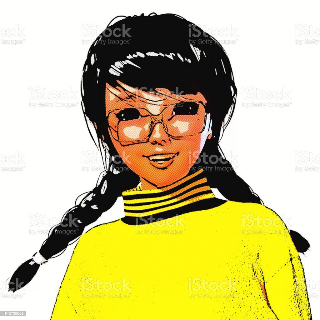 Digital 3D Ilustração de uma garota de Toon - foto de acervo