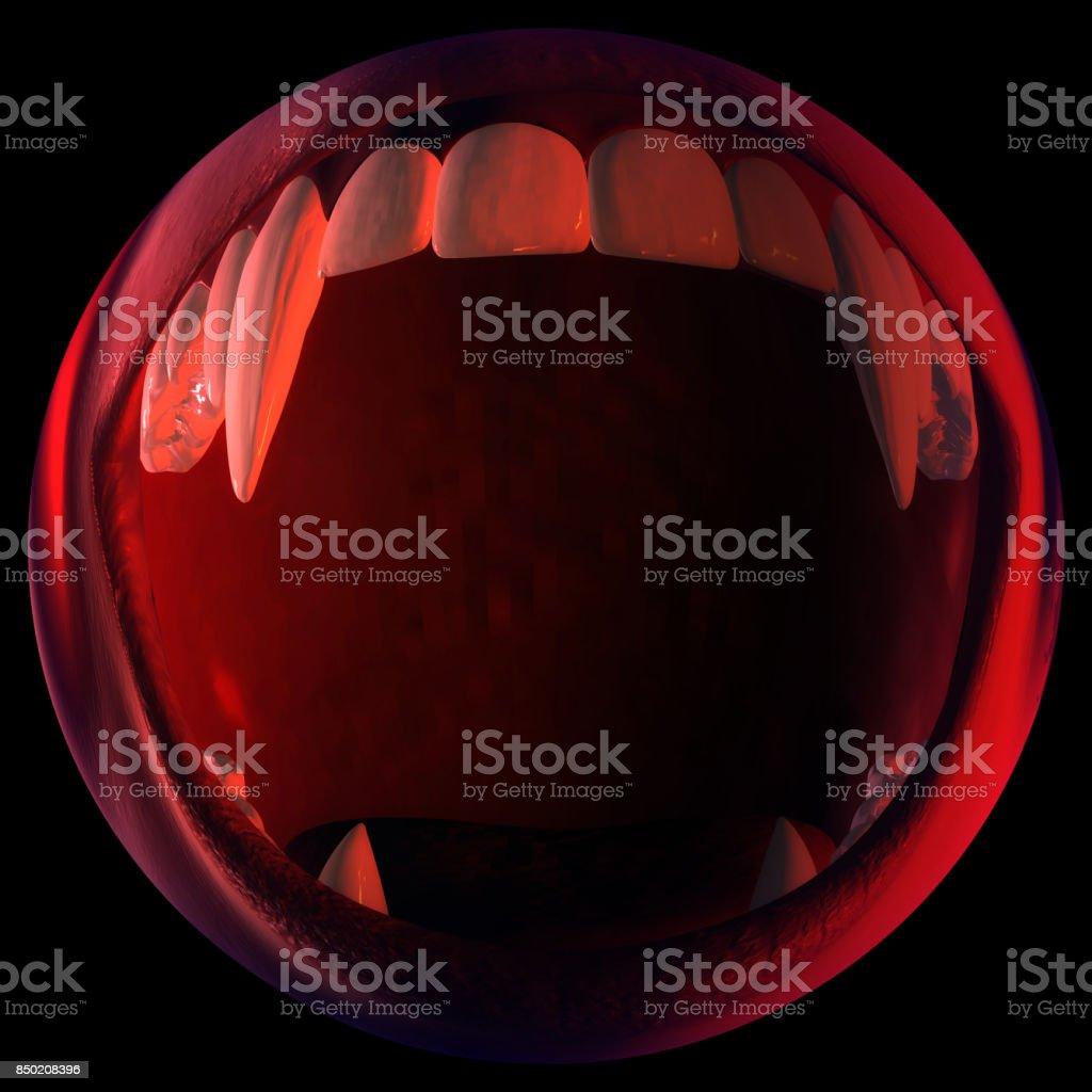Digital 3D Illustration of a Vampire Fangs stock photo