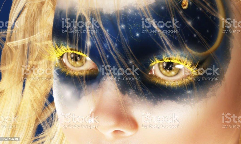 Digital 3D Illustration of Fairy Eyes stock photo