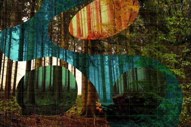 Digital abstract nature complexity concept with forest stock photo