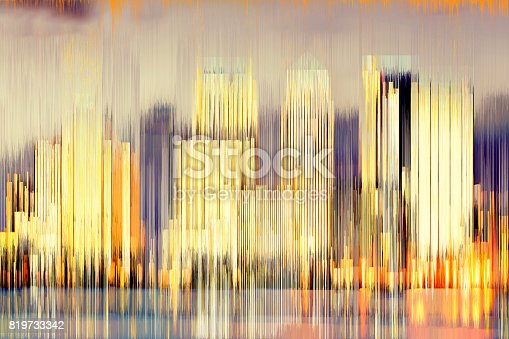 istock Digital abstract view of the buildings of Canary Wharf at night 819733342