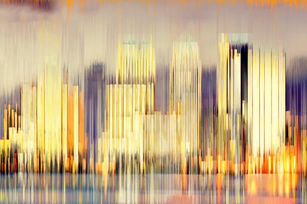 digitalen abstrakten blick auf die gebäude des canary wharf in der nacht - farbiges glas stock-fotos und bilder