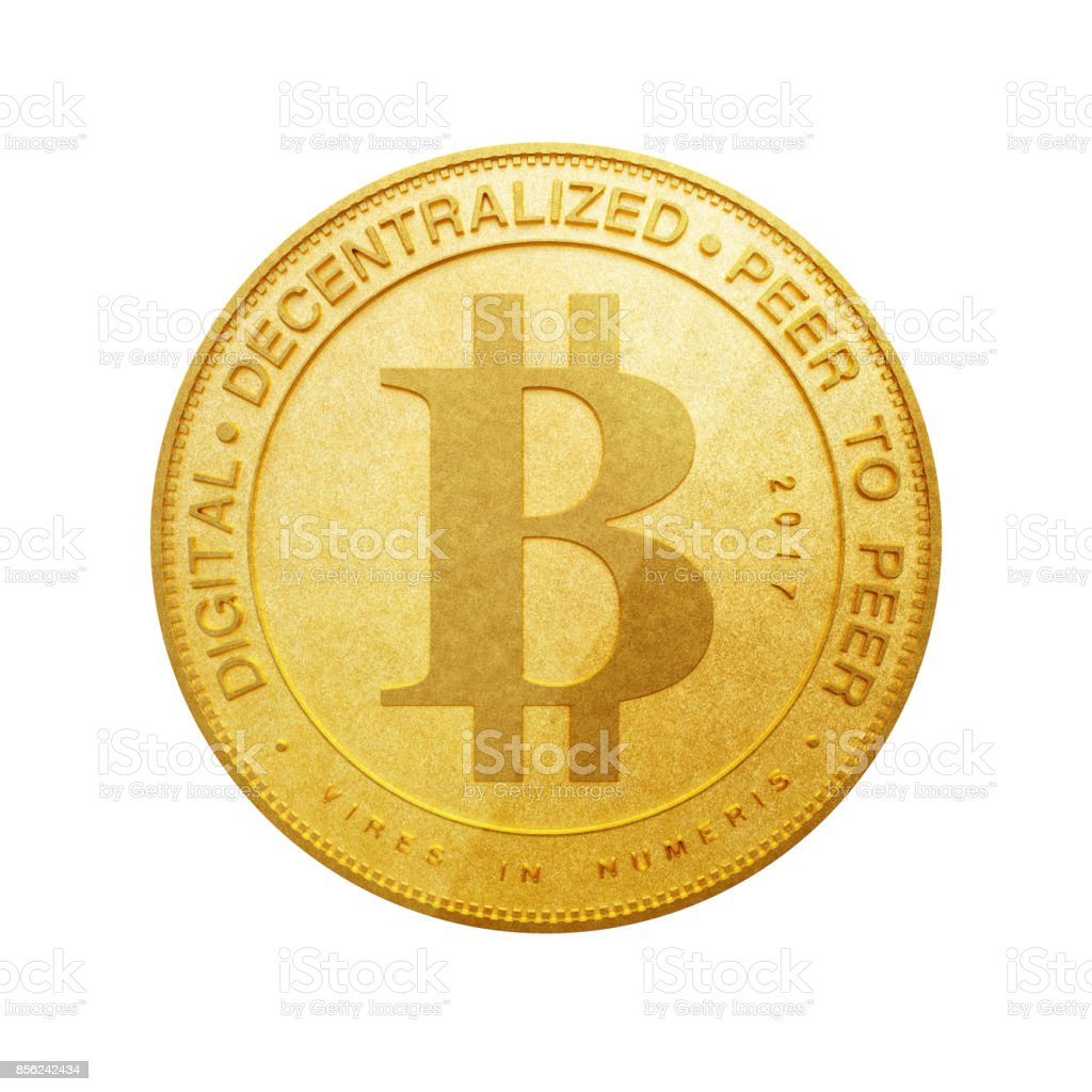 Digital and Cryptocurrency Concept. Golden Bitcoin. 3d Rendering - fotografia de stock