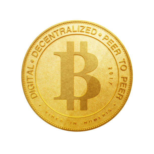 Digital and Cryptocurrency Concept. Golden Bitcoin. 3d Rendering – zdjęcie