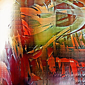 Abstract painting. Paint strokes and binary code. 3D rendering