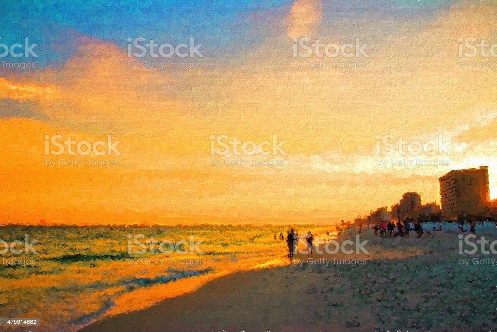 Digital Art Destin Beach Florida USA Sunset stock photo