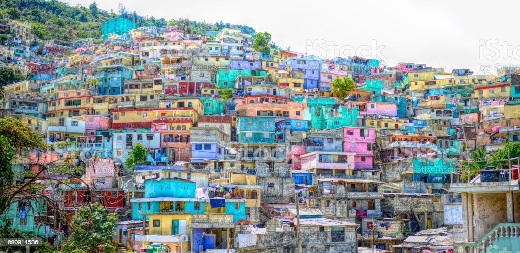 Digital art, Housing stacked up a hillside in Port-Au-Prince, Haiti stock photo