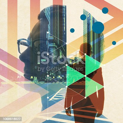 istock Digital art of the city and people. 1068618522