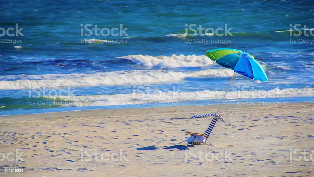 Digital art, paint effect, Atlantic city beach stock photo
