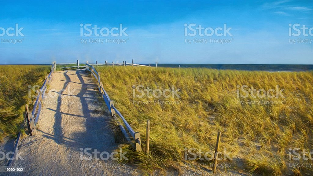 Digital art, Path Atlantic city boardwalk pier detail, ocean view stock photo