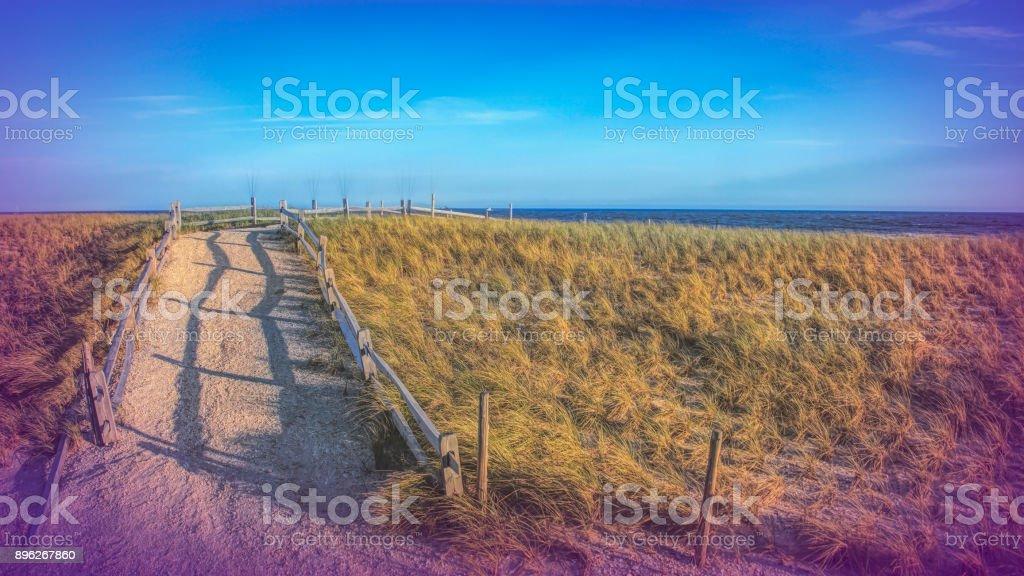 Digital art, Path Atlantic city boardwalk pier detail, ocean view stock photo