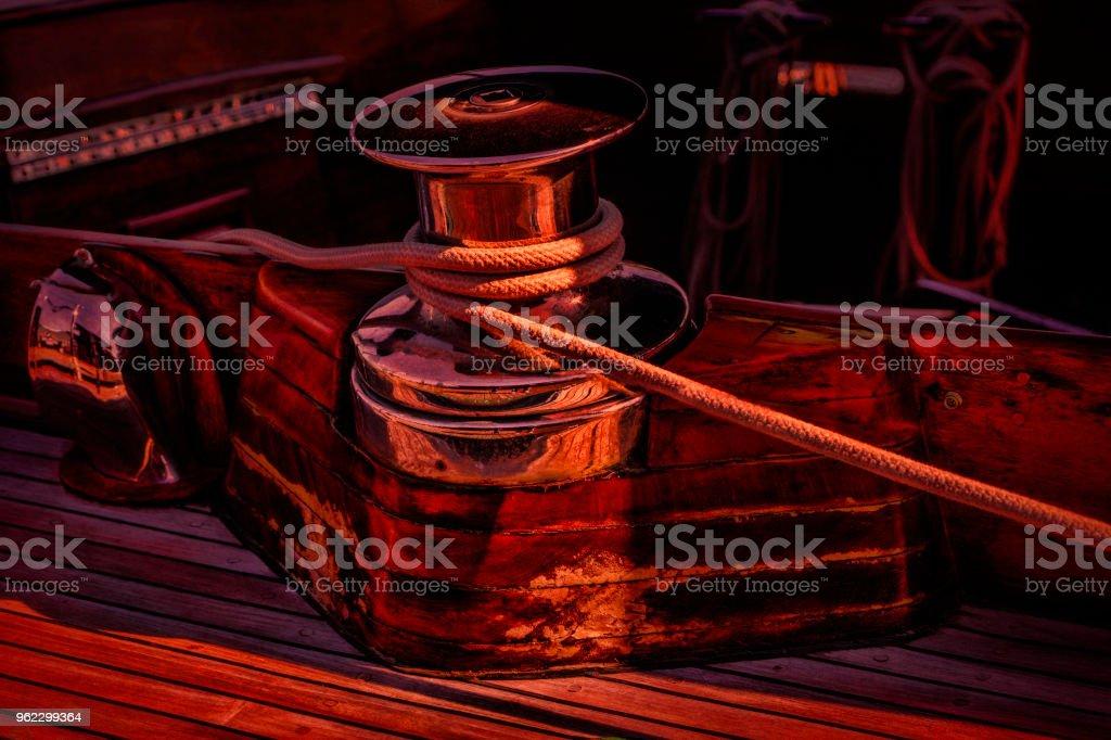 Digital Art Sailboat Cleat at Sunset stock photo