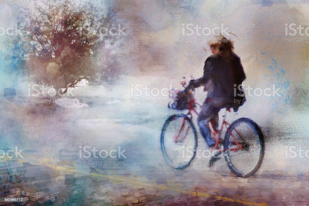 Digital art, watercolor effect paint, woman ride on bycicle stock photo