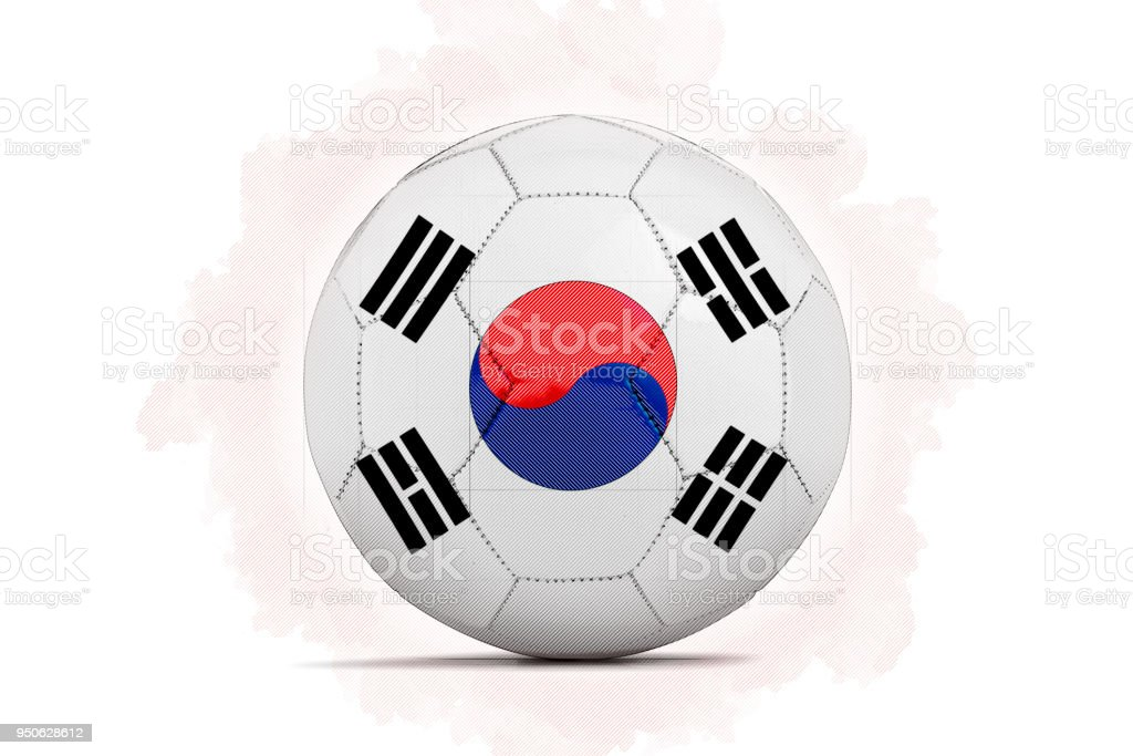 digital artwork sketch of a soccer ball with team flag stock photo
