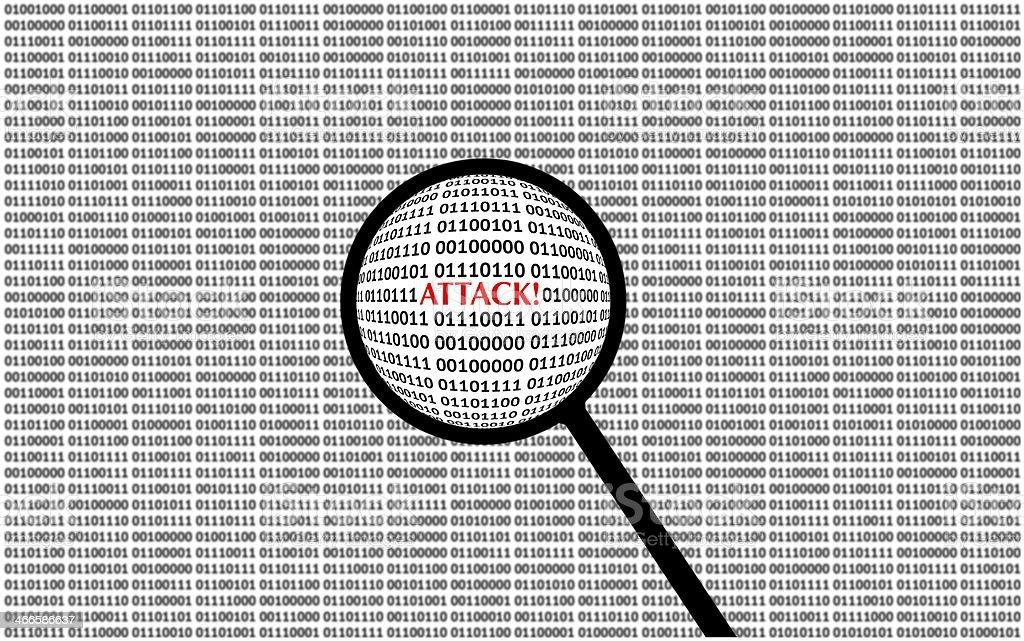 Digital Attack on computer screen stock photo