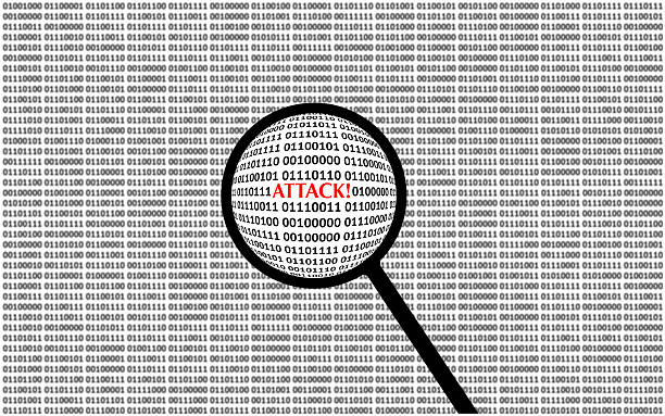 Digital Attack on computer screen stock photo