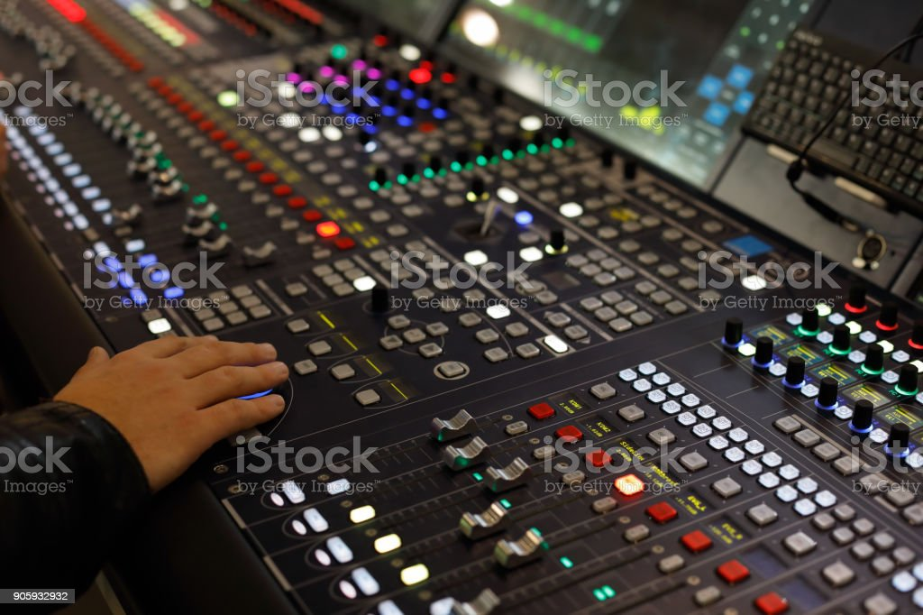 digital audio production console stock photo