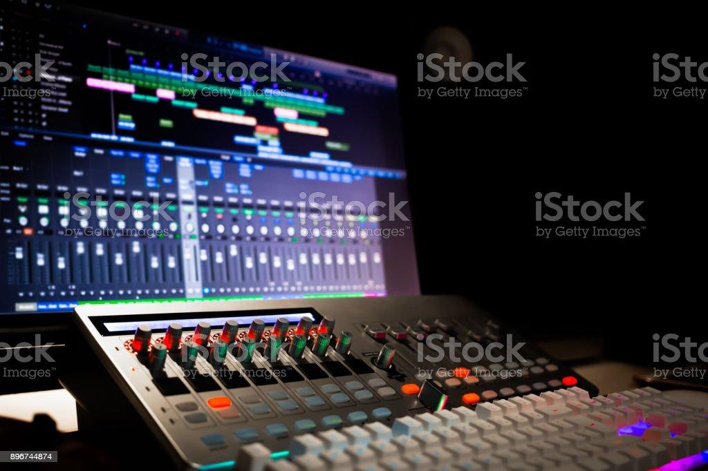 digital audio workstation equipment in recording, broadcasting studio...