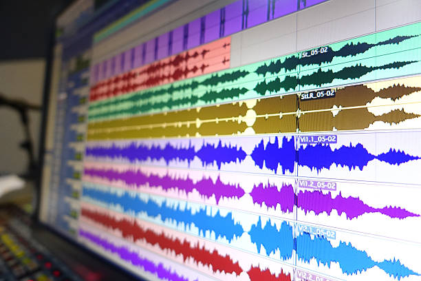digital audio workstation screen - audio wave stock photos and pictures