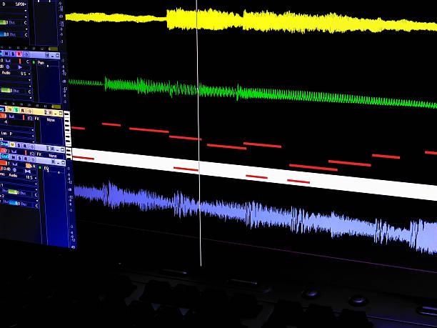 digitale audio-computer-bildschirm - geräusche app stock-fotos und bilder