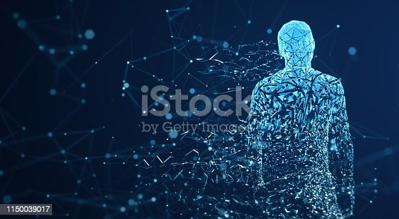 istock Digital Avatar / Artificial Intelligence (Blue, Copy Space) 1150039017