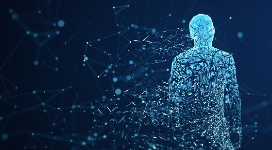 istock Digital Avatar / Artificial Intelligence (Blue, Copy Space) 1150039017