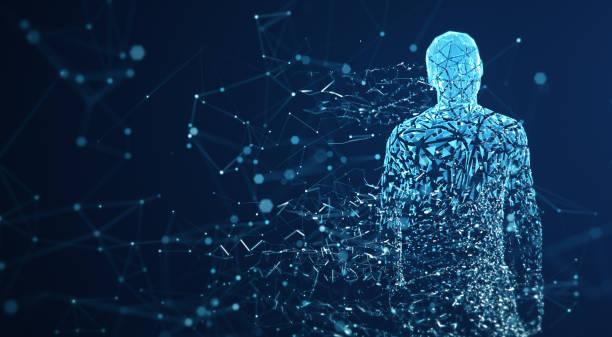 avatar digital/inteligencia artificial (azul, espacio de copia) - inteligencia artificial fotografías e imágenes de stock
