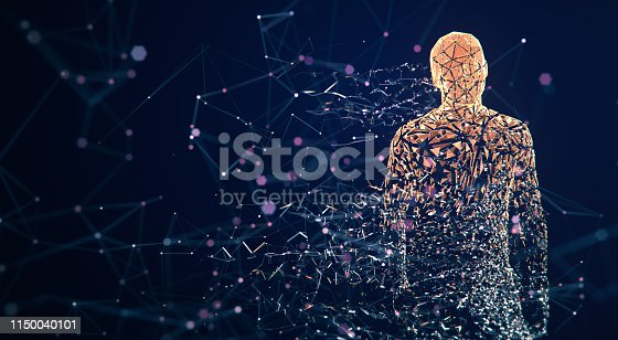 istock Digital Avatar / Artificial Intelligence (Orange, Copy Space) 1150040101