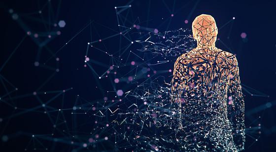 istock Digital Avatar / Artificial Intelligence (Orange, Copy Space) 1150040101