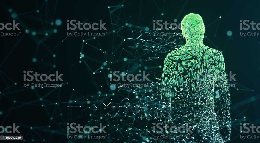 Digital Avatar / Artificial Intelligence (Green, Copy Space) 3D rendered depiction of a digital avatar, perfectly usable to visualize abstract topics like artificial intelligence, big data or human identity. Abstract Stock Photo