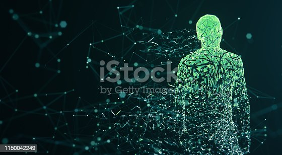 3D rendered depiction of a digital avatar, perfectly usable to visualize abstract topics like artificial intelligence, big data or human identity.