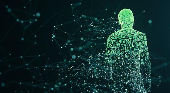 istock Digital Avatar / Artificial Intelligence (Green, Copy Space) 1150042249