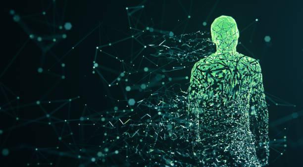 Digital Avatar / Artificial Intelligence (Green, Copy Space) stock photo