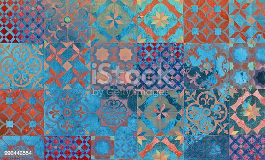 istock Digital background art made with photo collage technique. Mediterranean and Aegean traditional tiles. 996446554