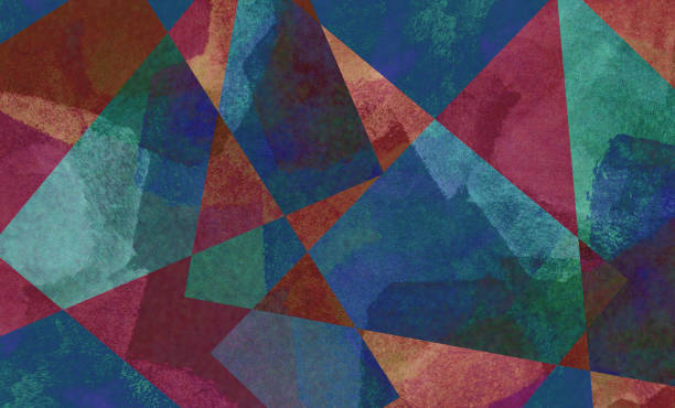 Digital background art made with photo collage technique. Brush strokes used in triangles and trapezoid shapes. stock photo