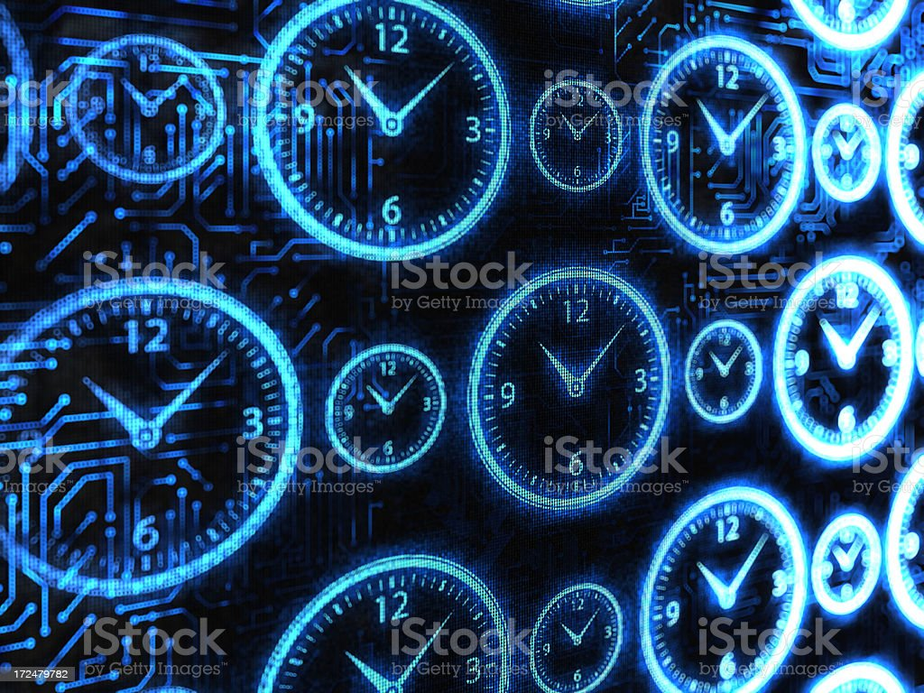 Digital background featuring clocks stock photo