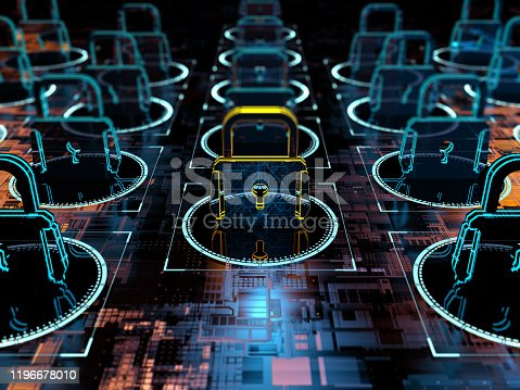Digital background depicting innovative technologies in security systems, data protection Internet technologies 3d rendering