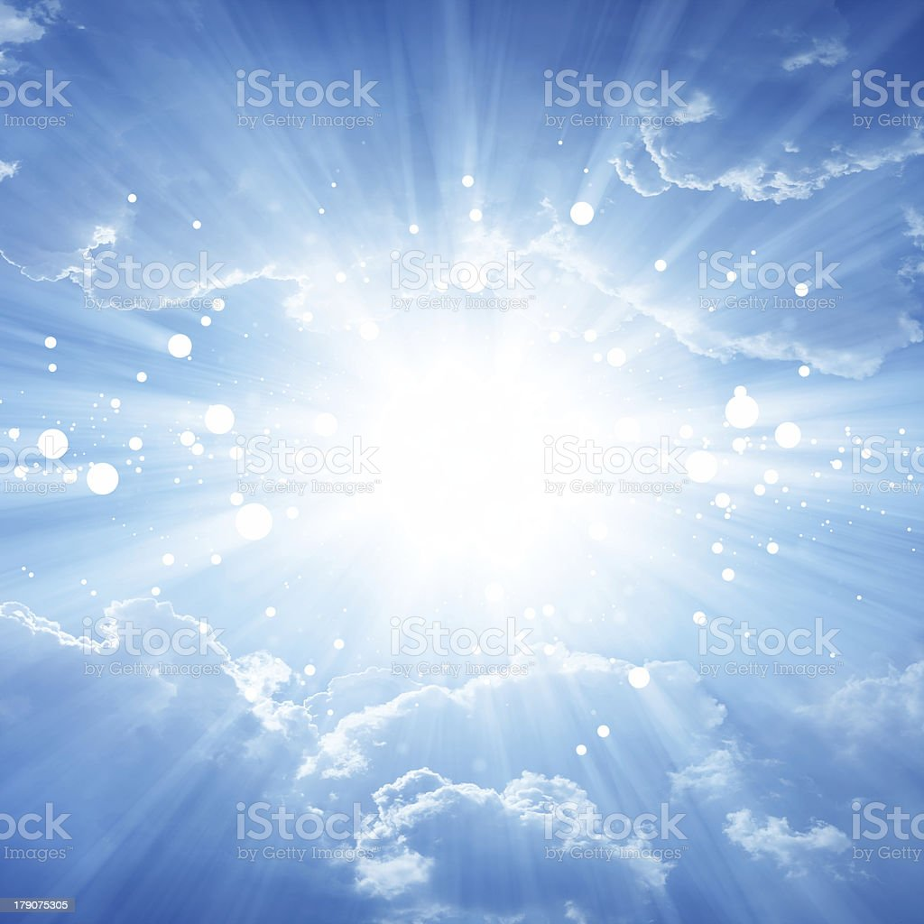Digital background with clouds and light stock photo