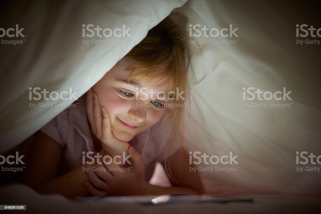 digital bedtime story stock photo