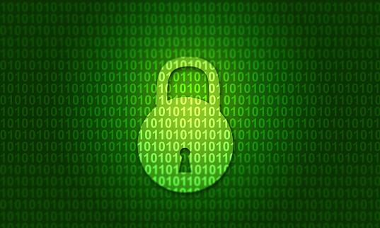 istock Digital binary code with closed lock 1065755762