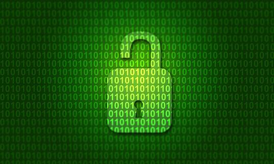 istock Digital binary code with open lock 1065755698