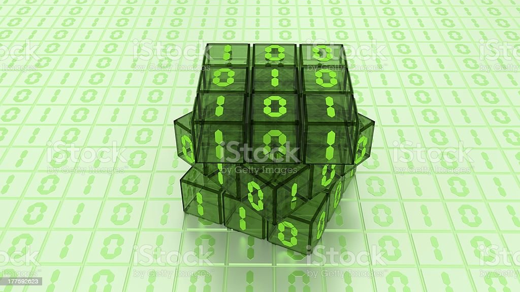 Digital Binary Magic Cube Box in Green Glass White Background stock photo