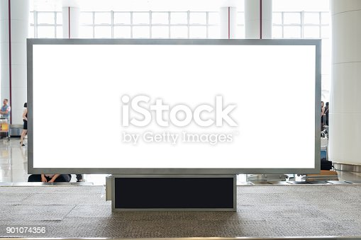 istock Digital blank billboard with copy space for advertising, public information in airport hall 901074356
