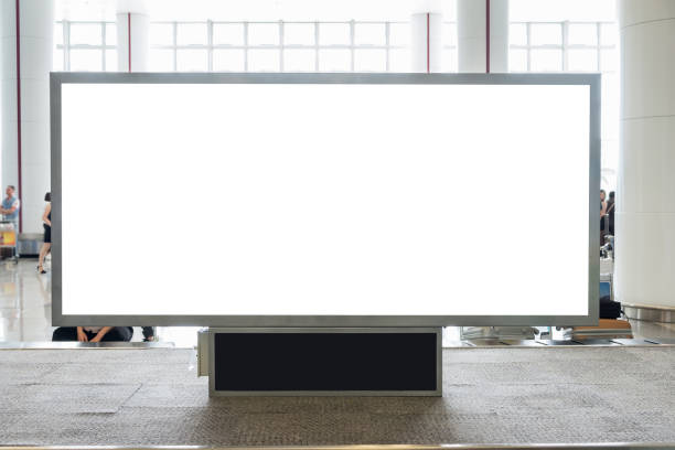 Digital blank billboard with copy space for advertising, public information in airport hall stock photo