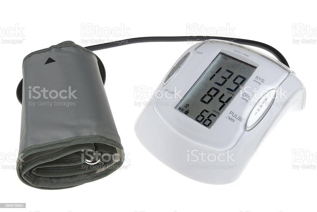 Digital blood pressure mesuring device isolated on white royalty-free stock photo