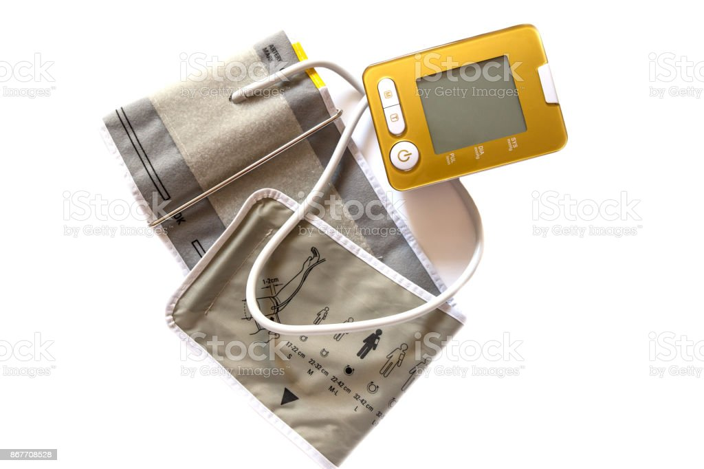 Digital Blood Pressure Monitor isolated on white background. stock photo