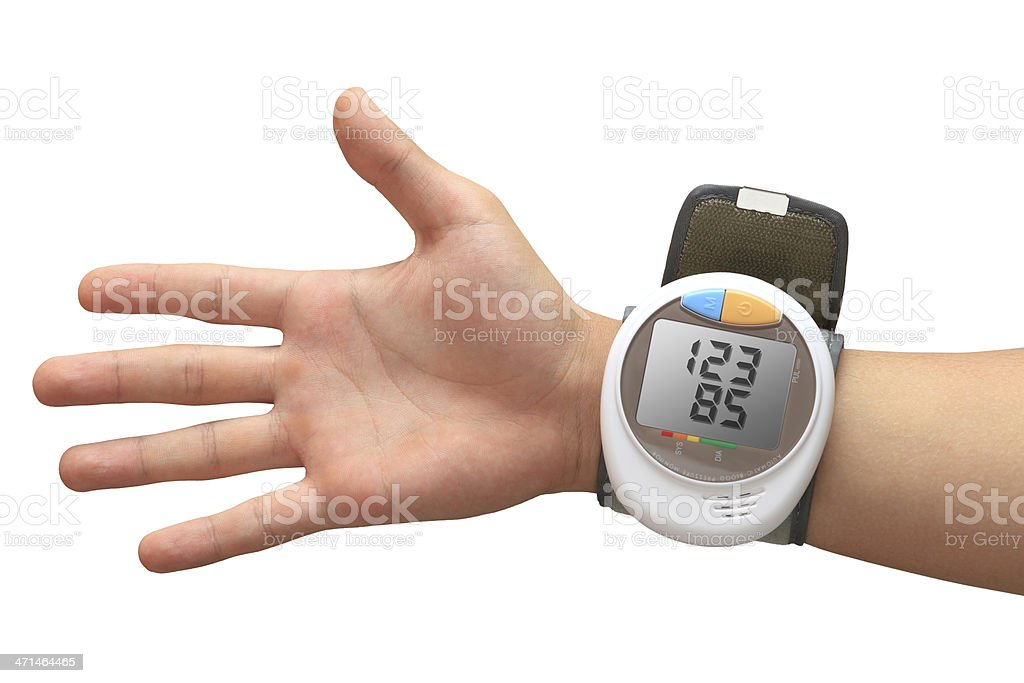 Digital blood pressure monitor with values royalty-free stock photo