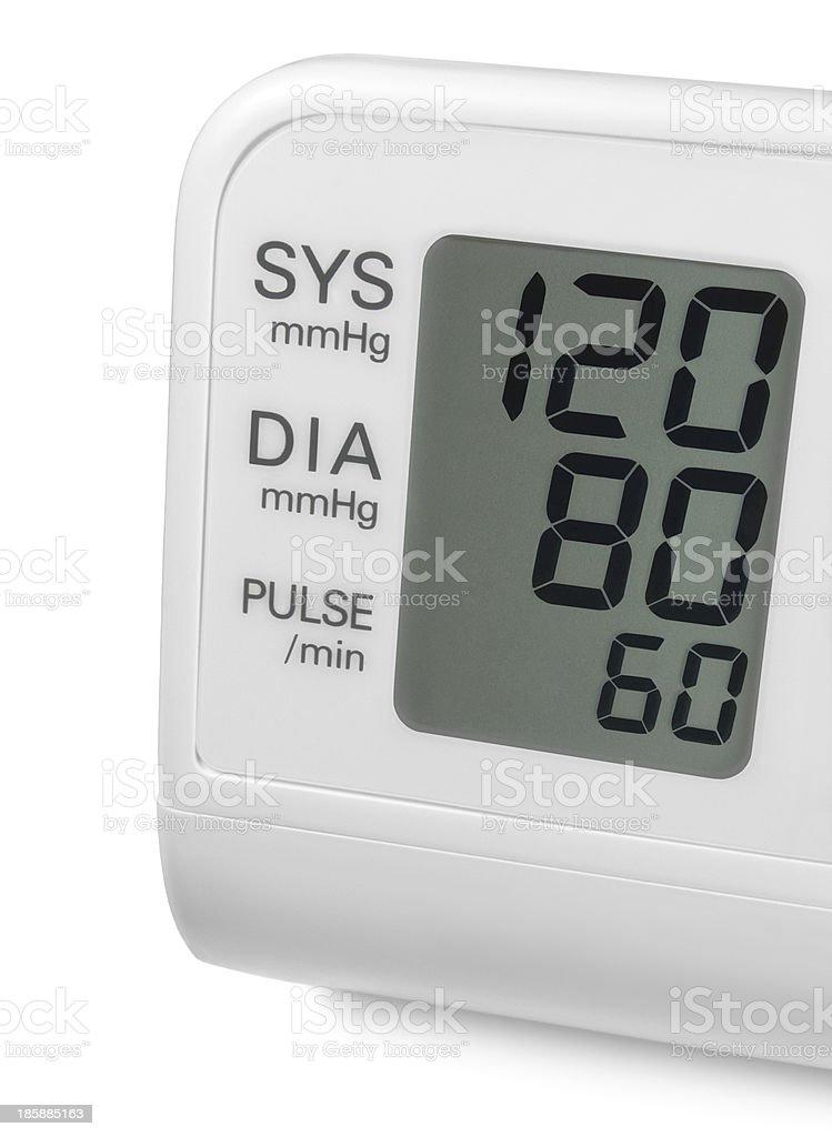 Digital blood pressure wrist tonometer monitor display screen isolated macro stock photo