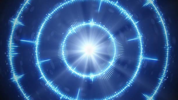 digital audio bleu forment des cercles concentriques - cercle concentrique photos et images de collection