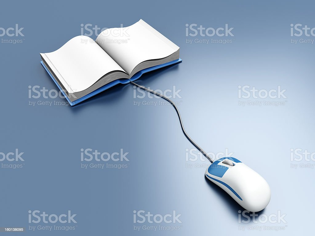 Digital books with computer mouse royalty-free stock photo